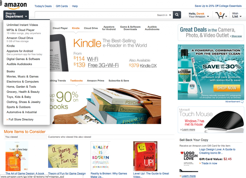Amazon Redesign Navigation