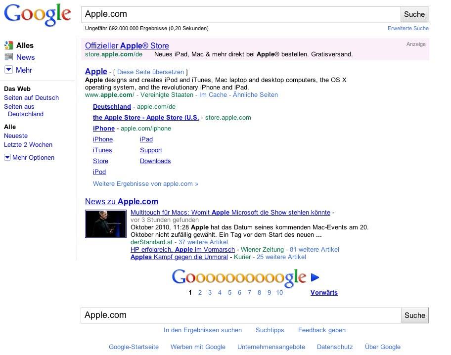Google Suchergebnis Apple.com