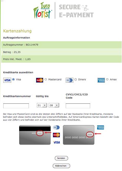 Externe Seite öffnet sich bei Kreditkartenzahlung
