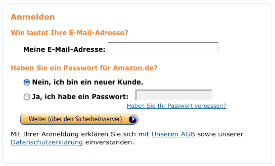 Kein Gast-Checkout bei Amazon