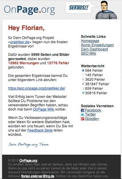 Crawl von praktiker.de fertiggestellt - fs@thereachgroup.de - TRG - The Reach Group GmbH-Mail