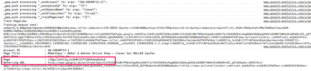 Debugger-screenshot-analytics-adwords