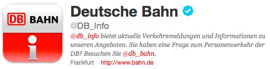 Deutsche Bahn auf Twitter