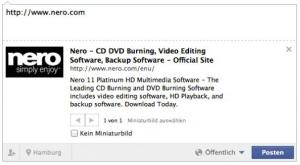 Facebook Snippet nero.com