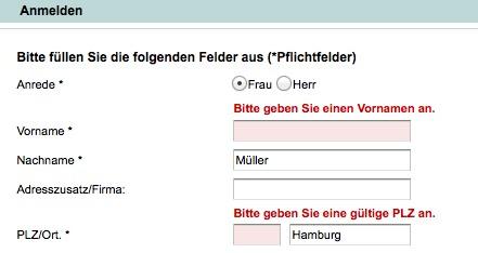 Fehlermeldung bei bonprix.de