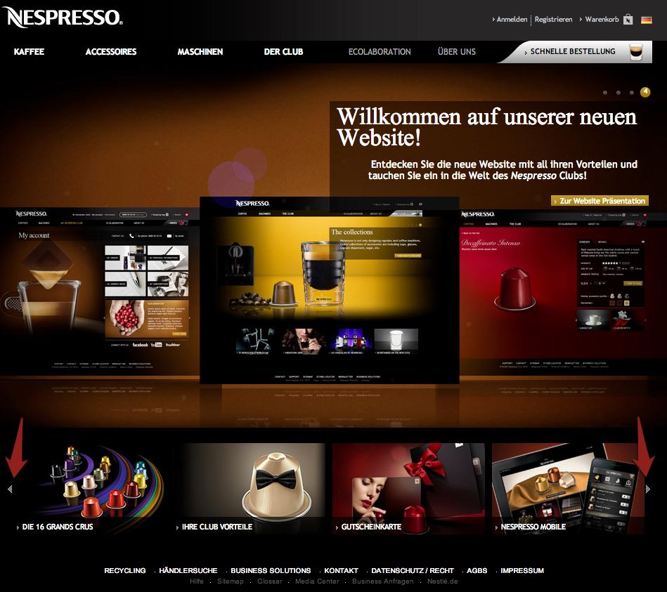 Homepage von Nespresso mit Slider und Teasern