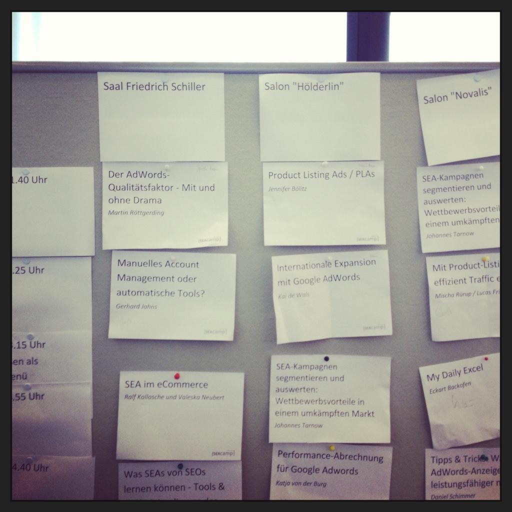 Der Sessionplan vom SEACamp Jena 2013