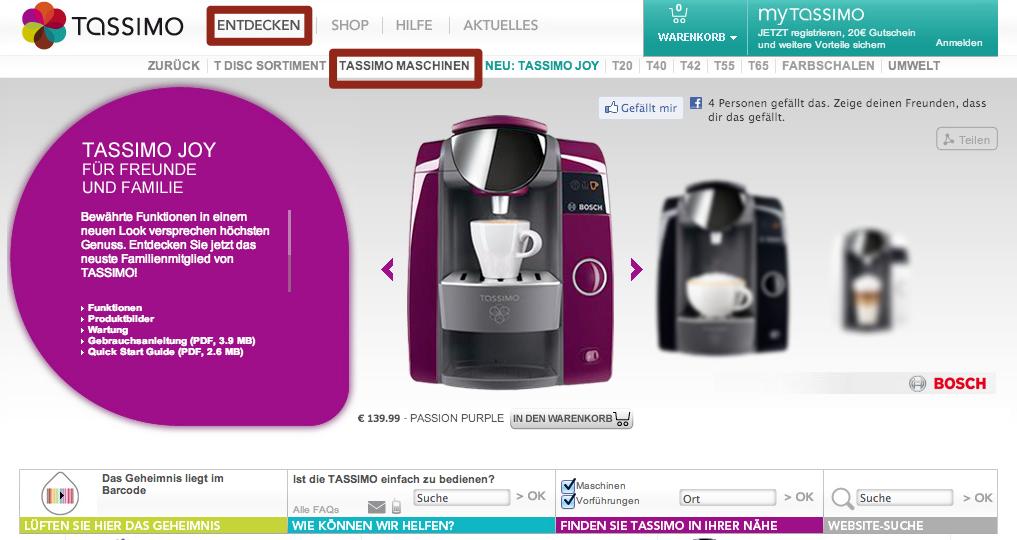 Kategorieseite Tassimo Maschinen des Bereichs Entdecken