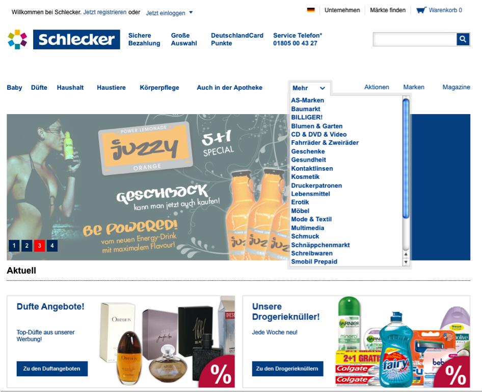 Navigation Schlecker Online-Shop
