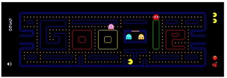 Das Pacman Google Doodle mit 255 spielbaren Levels