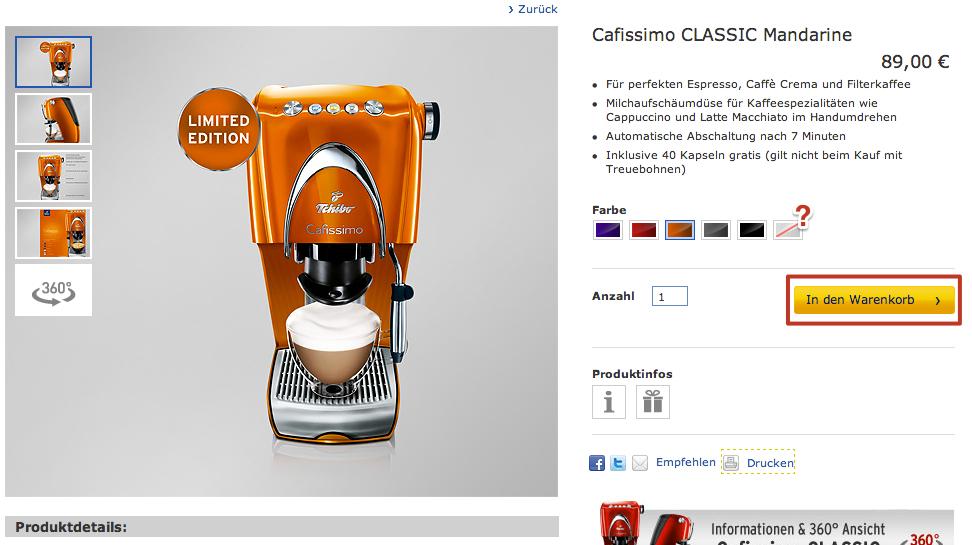 Produktdetailseite Cafissimo CLASSIC