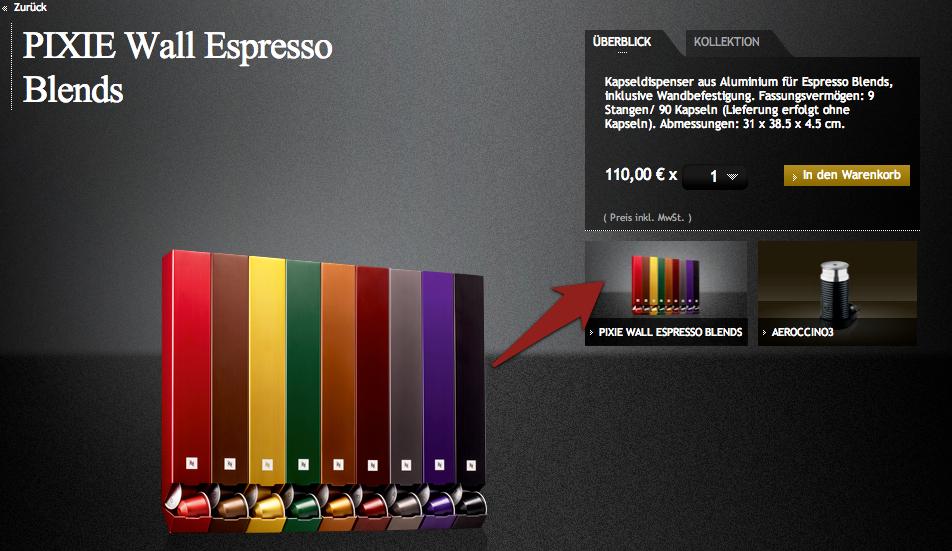 """Produktdetailseite """"Pixie Wall Espresso Blends"""" von Nespresso"""