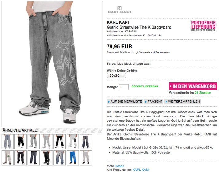 Produktseite von burner.de