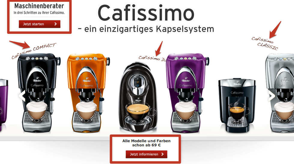 Startseitenslider Cafissimo auf Tchibo.de