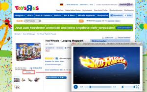 (2) Produktvideo im Online Shop von Toys ' R ' Us - Beispiel Hot Wheels