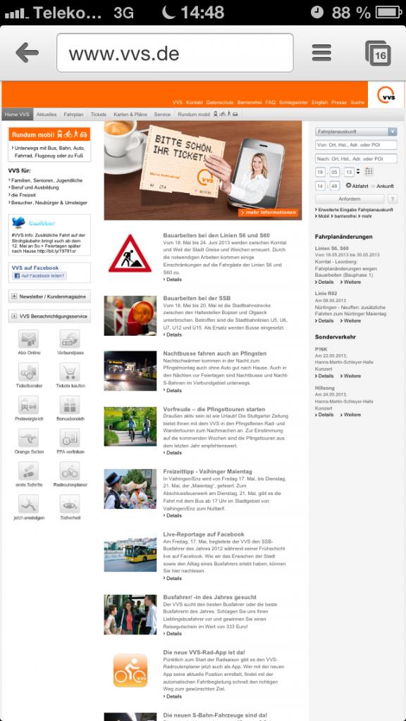 Dekstop-Version von VVS (www.vvs.de) auf dem Smartphone