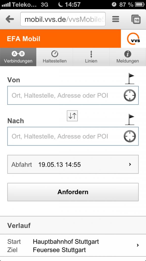 Mobile Fahrplanauskunft des VVS - Startseite mit Eingabemaske