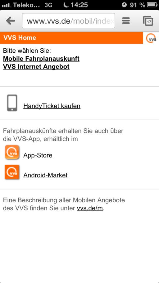 Die mobile Einstieggseite von VVS unter www.vvs.de/mobil/index.html