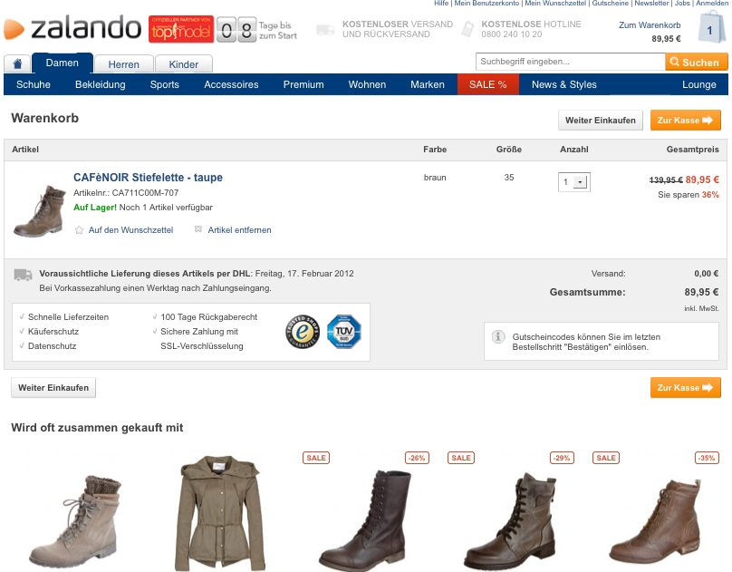 Cross-Selling bei Zalando