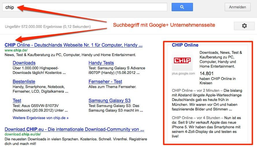 Unternehmen mit Google+ Seite werden in der Google Suche belohnt