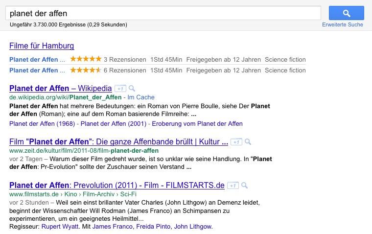 """Google-Suche nach """"planet der affen"""""""