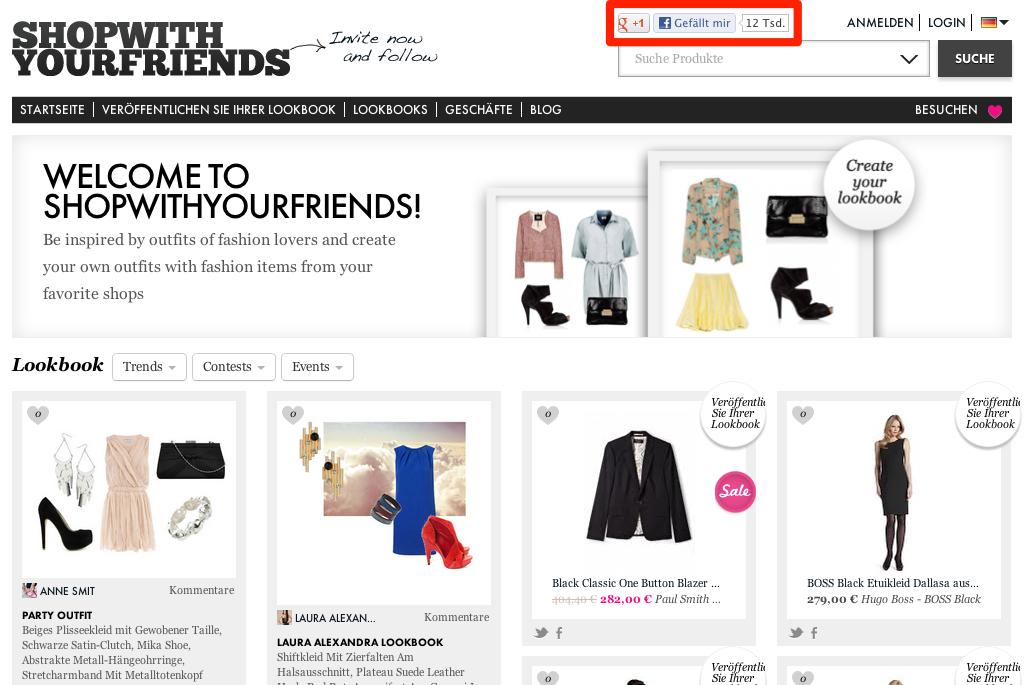 Startseite von shopwithyourfriends.com