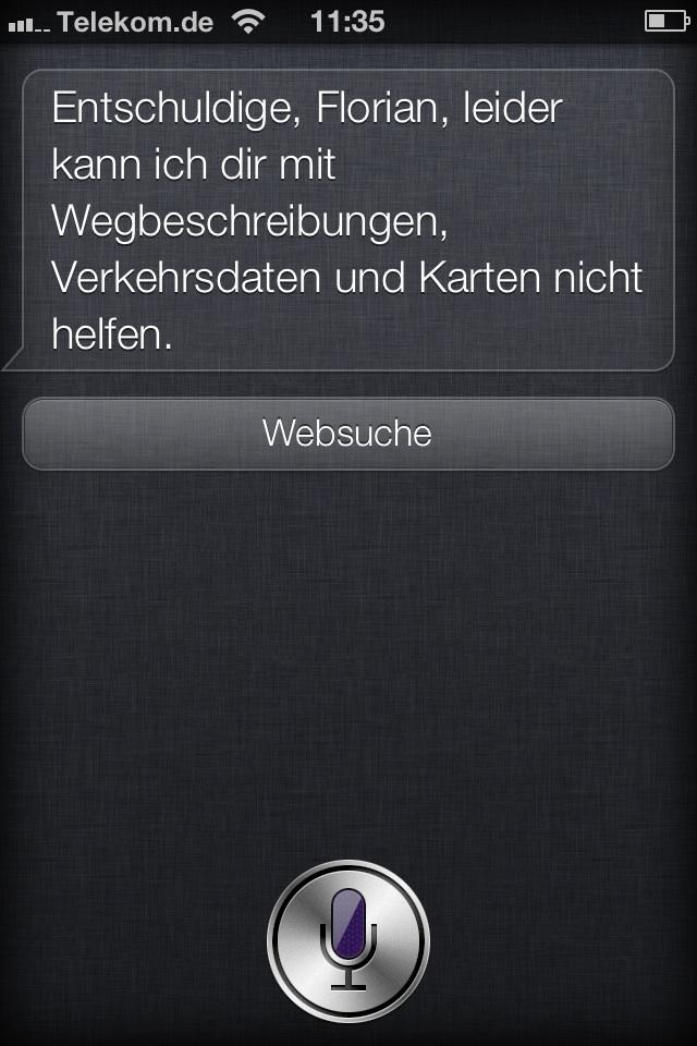 Fehlende Daten bei Siri