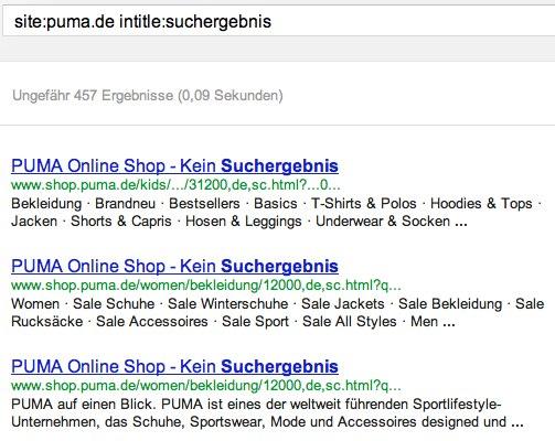 Suchergebnisseiten bei Puma.de