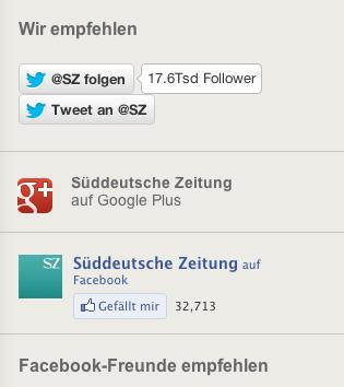 Social Media Kanäle von Sueddeutsche.de