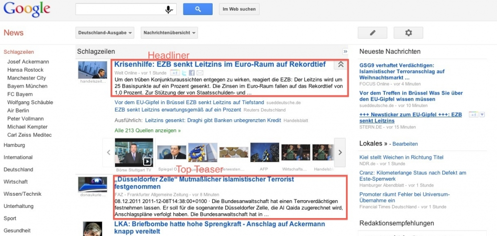 Google News Screenshot Headliner und Top-Teaser Darstellung