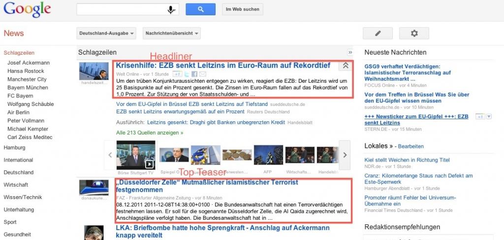 Google News Screenshot Headliner und Top-Teaser Darstellung
