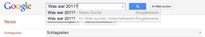 Artikelbild: Was war 2011-Suche in Google News