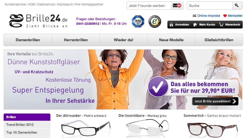 Startseite von Brille24.de