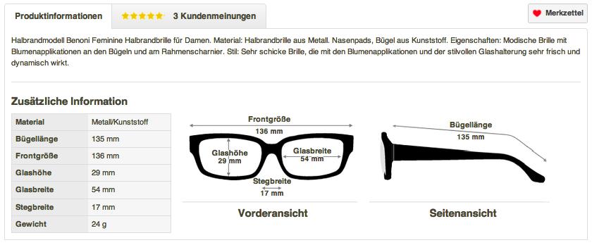 Zusatzinformationen bei Brille24.de