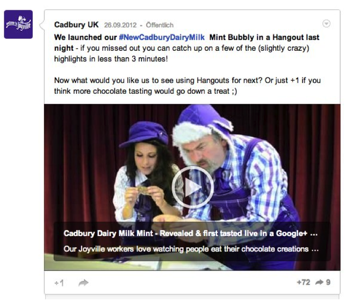 Cadbury Google+ Launch Video