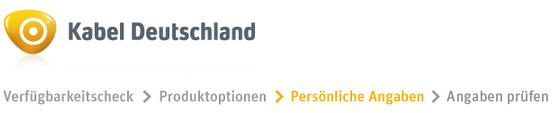 Fortschrittsanzeige im Bestellprozess von Kabel Deutschland