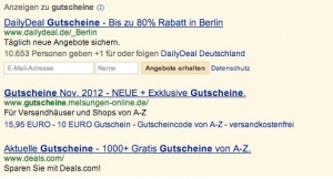 Screenshot: Communication Ad Extensions in einer DailyDeal Adwordsanzeige
