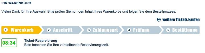 Countdown im Bestellprozess bei eventim.de