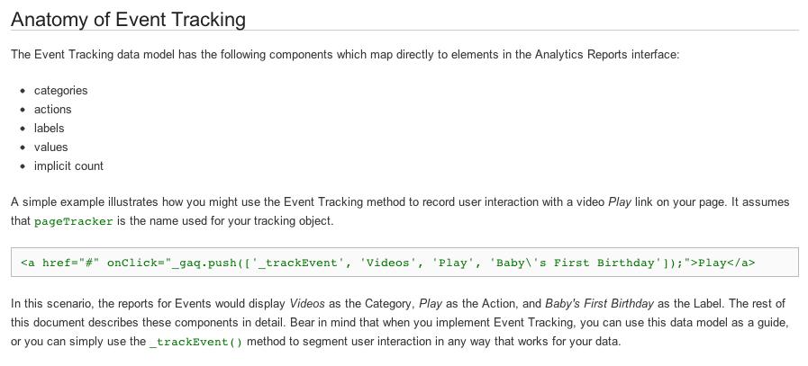Beispiel für Event Tracking
