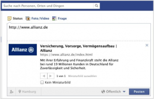 Facebook Snippet Allianz