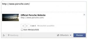 Facebook Snippet Porsche