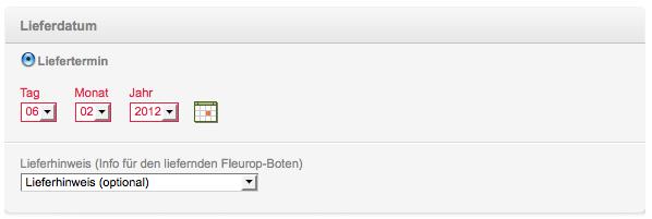 Lieferdatum in der Vergangenheit bei Fleurop