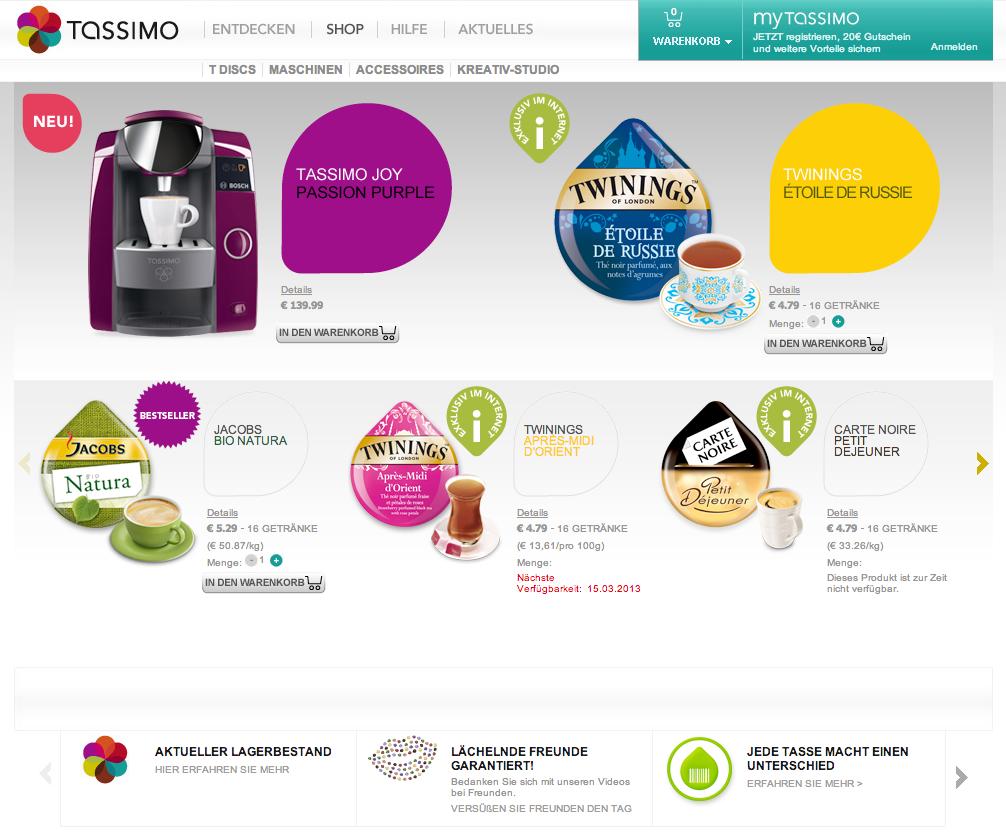 Hauptkategorie Shop von Tassimo