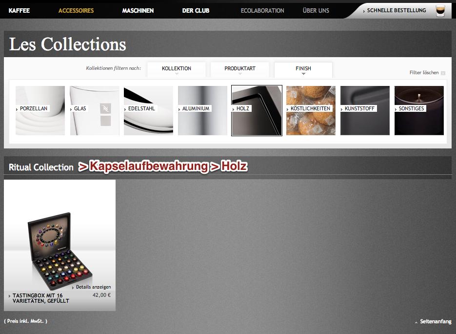 Hauptkategorieseite Accessoires mit Filter von Nespresso