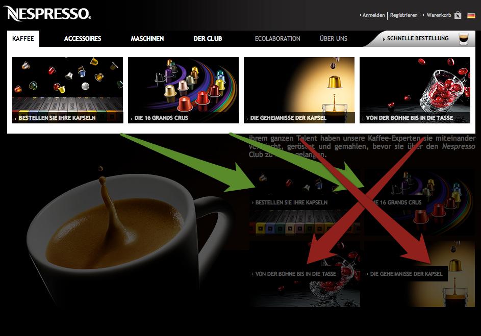 """Hauptkategorieseite """"Kaffee"""" von Nespresso"""
