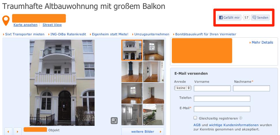 Likes bei Immobilienscout für einzelne Objekte