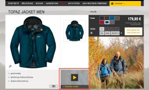 (5) Produktvideo im Online Shop von Jackwolfskin - Beispiel Topaz Jacke