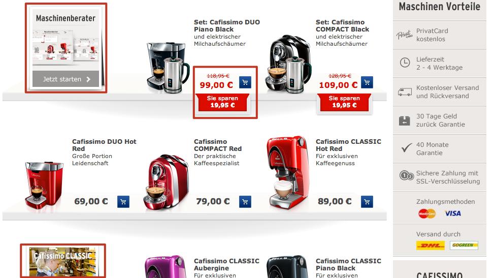 Kategorieseite Cafissimo Maschinen