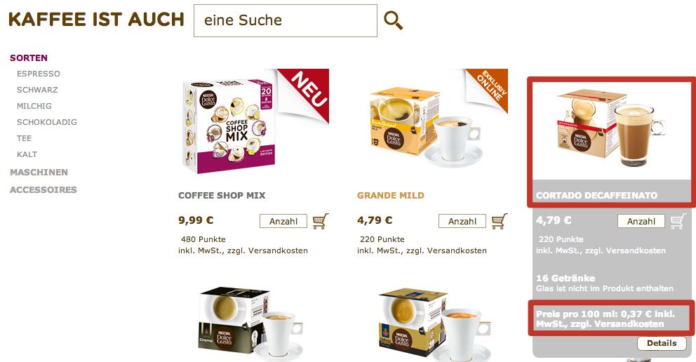 Kategorieseite Online-Shop Sorten