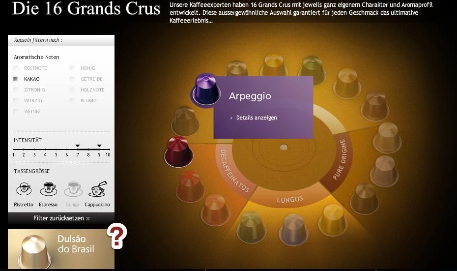 """Kategorieseite """"Die 16 Grands Crus"""" von Nespresso"""